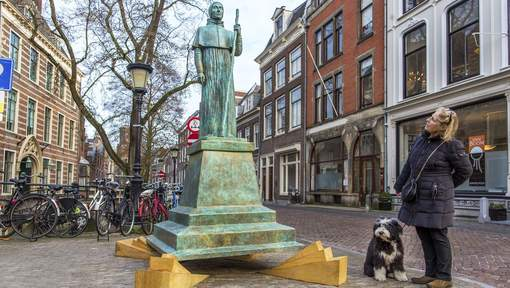 Het pausbeeld in Utrecht. Foto: AD/UN.